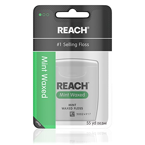 Reach Mint Floss Waxed (Reach Waxed Dental Floss for Plaque and Food Removal, Refreshing Mint Flavor, 55 Yards, Pack of 6)