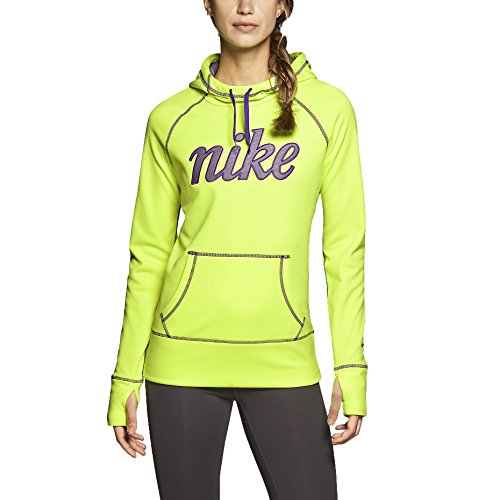 Nike Women's Therma-Fit All Time Script Fleece Training Hoodie-Volt-Small