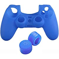 For Playstation 4 PS4 Controller - Silicone Case and XL Tall Convex Silicone Thumb Grip Caps - Blue