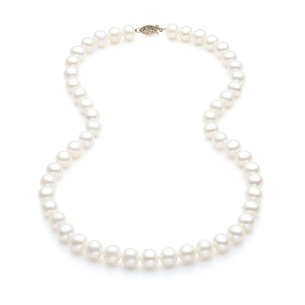 THE PEARL SOURCE 4-5mm Genuine White Freshwater Cultured Pearl Cotton Necklace for Women