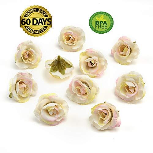 Mini Lei (fake flowers heads Handmade Mini Artificial Silk Rose Flowers Heads DIY Scrapbooking Flower Kiss Ball for Wedding Decorative 30 Pcs 3.5cm (White Pink))