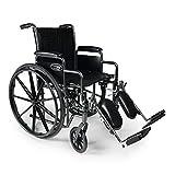 "Everest & Jennings Traveler SE Wheelchair, Detachable Desk Arms & Elevating Legrests, 16x16"" Seat, Silvervein Color"