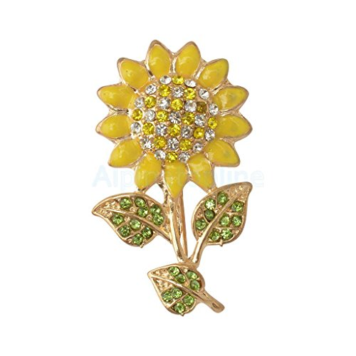 Yellow petal .Yellow and white Unique Sun Flower Brooch Pin Jewelry Accessories Shining Multi-color (Petal Flower Pin Brooch)