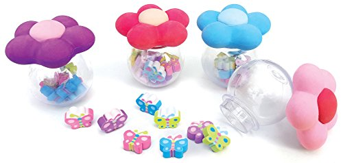 The Piggy Story 'Garden Life' Tiny Butterfly Erasers in Flower Bowl Package - 4-Pack