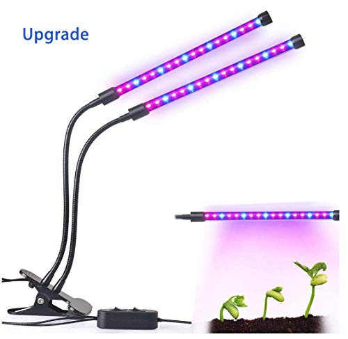 LUCKGOLD Dual-lamp LED Grow Light 2 Dimmable Levels Plant Grow Lamp Lights Bulbs with Adjustable Flexible 360 Degree Gooseneck for Indoor Plants Hydroponics Greenhouse Garden [2018 Upgraded]