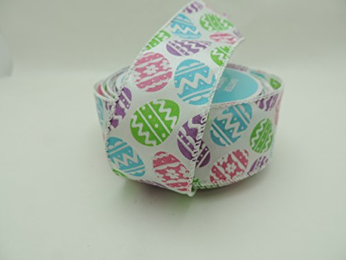Happy Easter Decorative Ribbon Egg Pattern 1.5 Inch by 9 Foot Ribbon - Great for Easter Baskets!