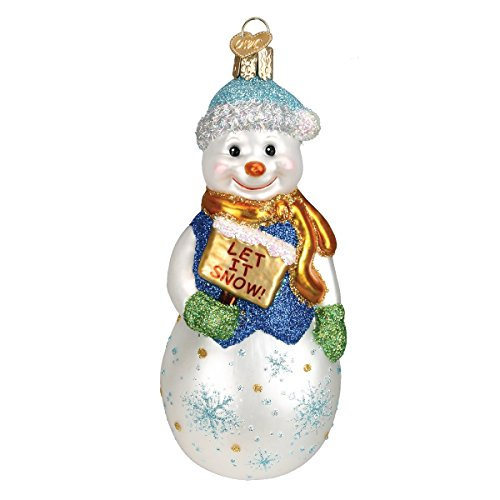 Old World Christmas Glistening Let It Snow Glass Blown Ornament