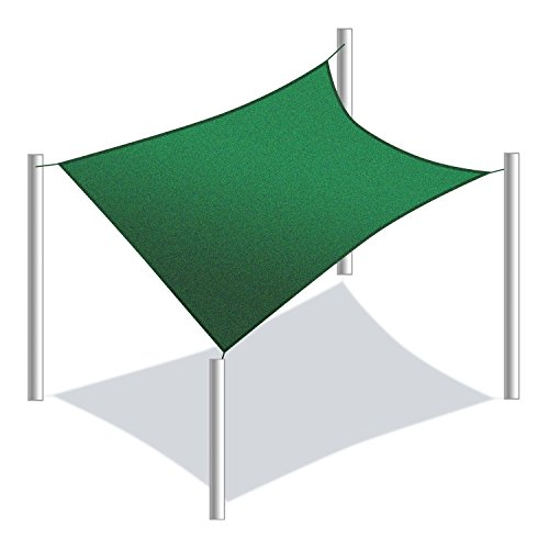 Price comparison product image ALEKO SS03REC18X18GR Sun Shade Sail Square Water Resistant Canopy Tent Replacement for Yard Patio Pool 18 x 18 Feet Green