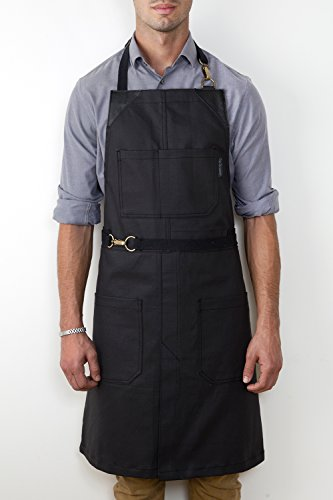 No-Tie Apron - Coated Matte Black Twill - Black Leather - Split-Leg