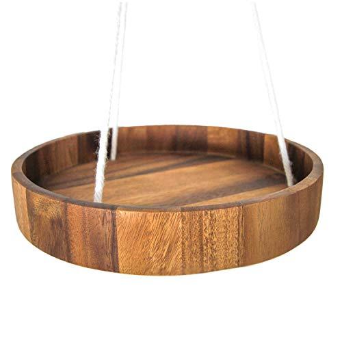 roro Wood Round Hanging Planter Tray, Acacia 12 Inch