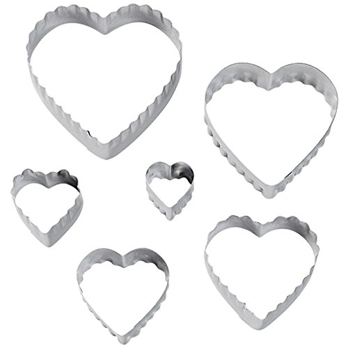 Wilton 417-2588 6-Piece Nesting Fondant Double Sided Cut Out Cutters, Hearts (Heart Shaped Cookie Cutter)