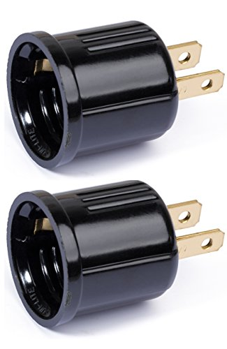 [2-Pack Outlet Socket Adapter, Converts Polarized Handy Outlet Plug to Screw-In E26 Light Bulb Holder Lamp Socket Converter Female to Socket Adapter, Black.] (Polarized Medium Base Socket Adapter)