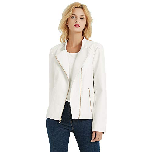 PANAPA Women's Smooth Touch Faux Leather Jacket with Asymmetrical Zip Closure, Banded Collar