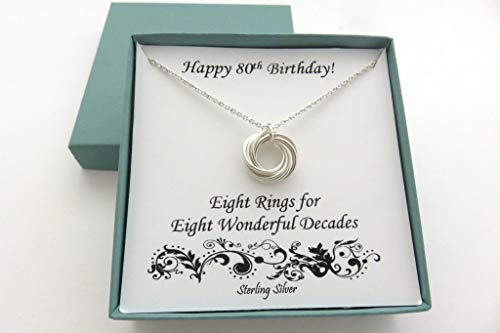 80th Birthday Gifts for Women | Sterling Silver Necklace