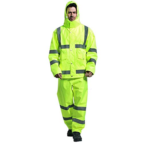 LLDDP Protective Workwear Reflective Raincoat Rain Pants Suit Thickening Traffic Warning Safety Sanitation Fluorescent Waterproof Clothes Reflective Vests Safety Apparel (Size : XL) ()