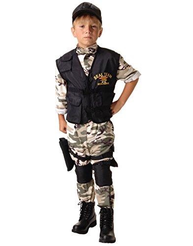 Black Team 6 Kids Costumes (Underwraps Big Boy's Underwraps Kids SEAL Team Costume - Medium Childrens Costume, camo/black, Medium)