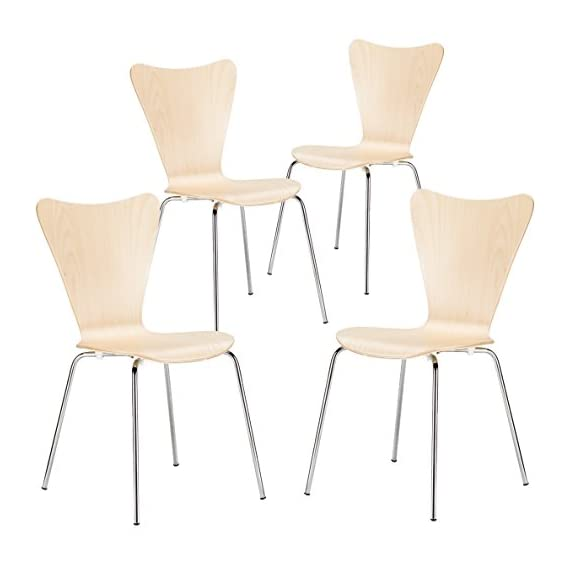 Poly and Bark Elgin Wooden Dining Side Chair with Chrome Legs, Stackable, 250 lbs Capacity, Natural (Set of 4) -  - kitchen-dining-room-furniture, kitchen-dining-room, kitchen-dining-room-chairs - 41TOAmPtmoL. SS570  -