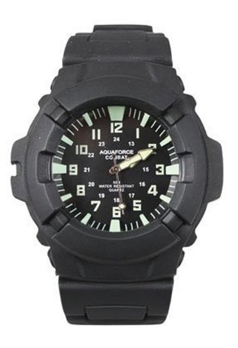 Aqua Force 47mm Diameter Quartz Combat Watch, Black with Black Face