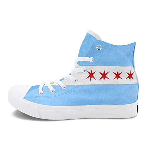 (Wen Fire City Skyline Chicago Flag Hand Painted Sneaker High Canvas Unisex Shoes White)