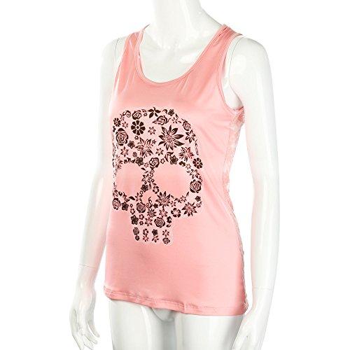 De Confort Pink Esmalte Blusa V Top Transpirable Vendaje Mangas Estampada En 1 Bazhahei Mujer Y Cuello Camisetas Ropa Camis Sin Chaleco Estampado Con F1xtqS5