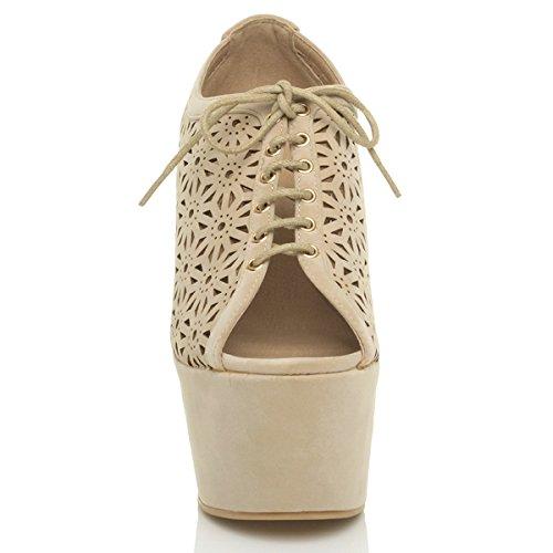 Damen Block Keilabsatz Hoher Peep Toe Ausgeschnitten Blumen Pumps Schuhe Größe Beige Faux-Wildleder
