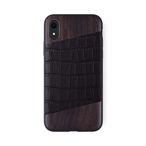 iATO iPhone XR Designer Case. Black Croco Grain Genuine Leather and Bois de Rose Wood Premium Protective Bumper. Unique Wooden Cover for 6.1 inch iPhone XR (2018) | Supports Wireless Charging