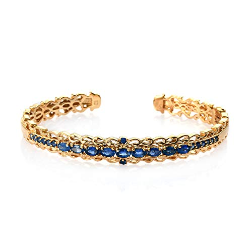 - Blue Sapphire Vermeil Yellow Gold Over 925 Sterling Silver Cuff Bangle Bracelet for Women Jewelry Gift 7.25