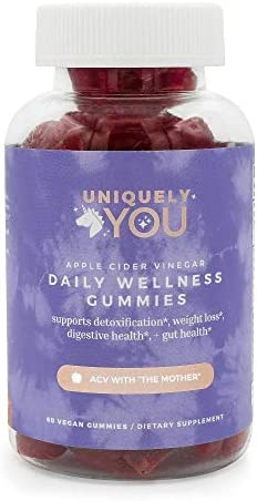 Uniquely You Organic Apple Cider Vinegar Gummies - Gluten Free Vegan Wellness Vitamin Supplements - Essential Nutrients, Detox, Heart Health - Men and Women (Single) 1