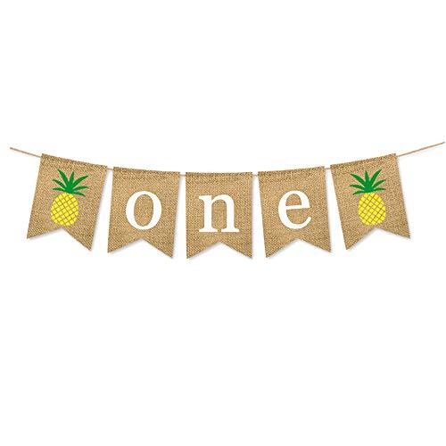 INNORU Burlap One Birthday Banner ,First 1st Birthday Pineapple Sign, Hawaiian Luau Themed Supplies Tropical Leaves Decoration for Kids Birthday - Banner Pineapple