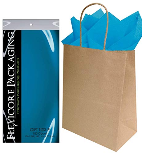 Flexicore Packaging® 50ct Natural Brown Kraft Paper Gift Bags + 100ct Gift Tissue Paper (Turquoise -