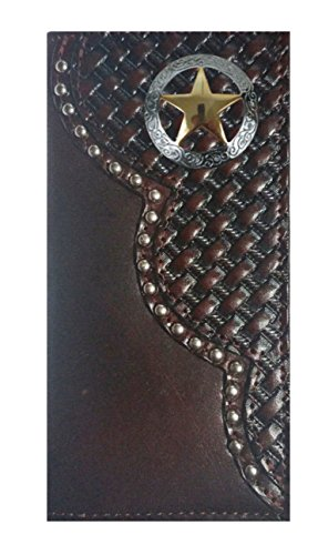 MADE Ranger USA Wallet Long Leather Basket Lone Cherry Checkbook Star IN Proudly Weave Black Custom THE Texas twPOqgWp