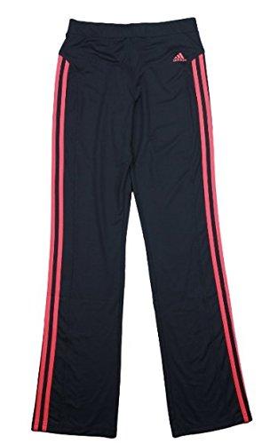 Adidas Big Girl's Yoga Pants with Stripes (Large (14), Black Redz)