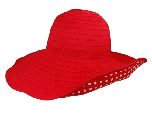 Solid Red & Polka Dot Lining, Round Crown Ribbon Crusher Sun Hat, Shapeable Brim