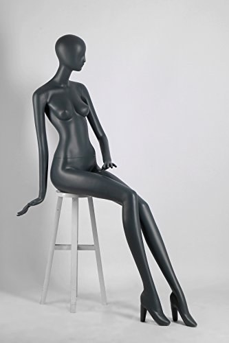 Female Full Body Fiberglass Mannequin Abstract Style, Grey Color (ados6) by Only Mannequins®