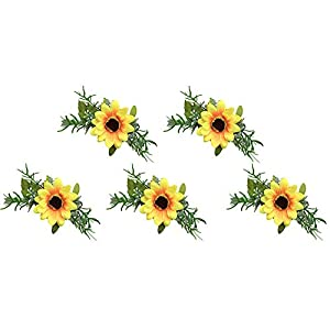 Cratone 5Pcs Wrist Flower Wristband Bridesmaid Corsage Hand Flowers Sunflower Silk Bracelet Artificial Flower Elegant Wedding Bridesmaid Hand Wrist Corsage 11CM 30