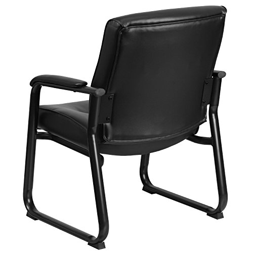 Flash Furniture Hercules Series Big and Tall Leather Executive Side Chair with Sled Base and Padded Arms, 500-Pound, Black by Flash Furniture (Image #2)