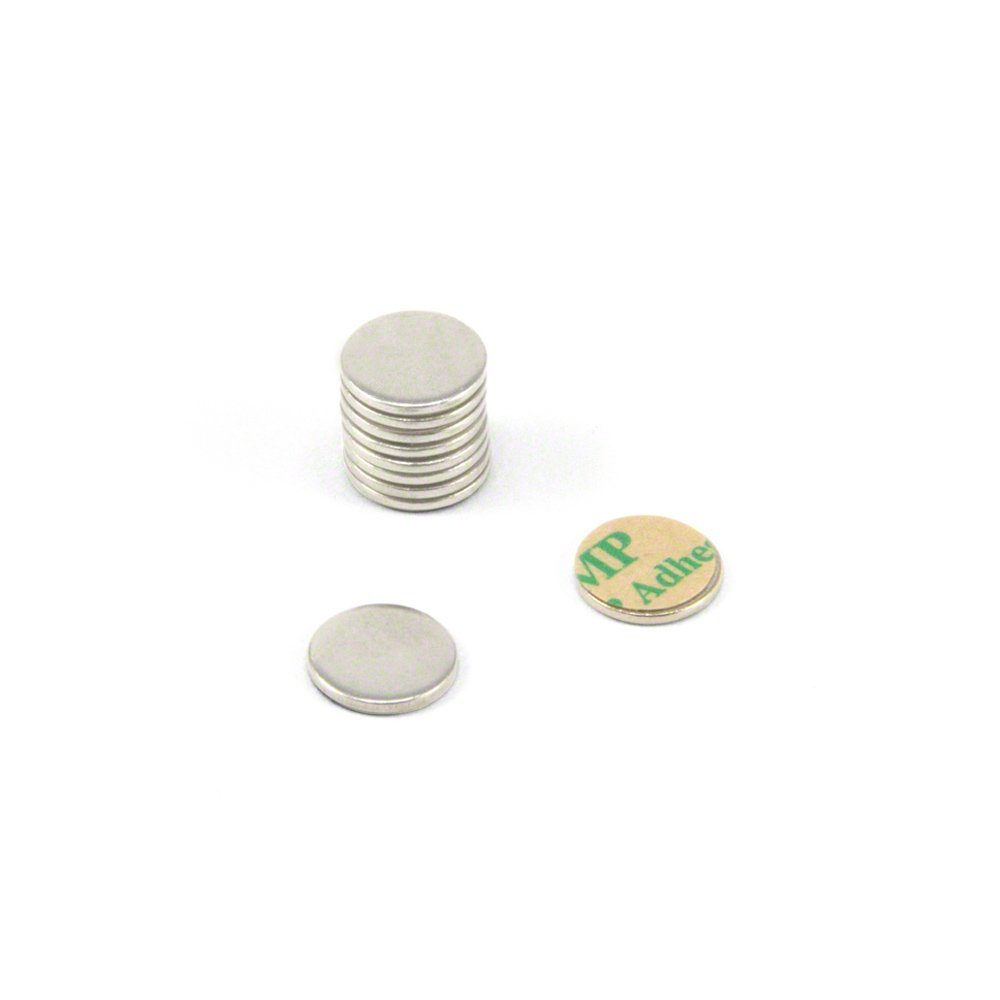 Pack of 100 Magnet Expert 10mm dia x 1mm thick Nickel Plated Mild Steel Disc with 3M Self Adhesive