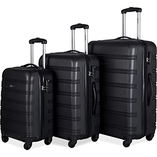 83a5a39cc8e1 Merax 3 Pcs Luggage Set Expandable Hardside Lightweight Spinner Suitcase  (Classic Black)
