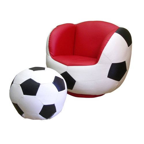 ORE International Soccer Swivel Chair & Ottoman