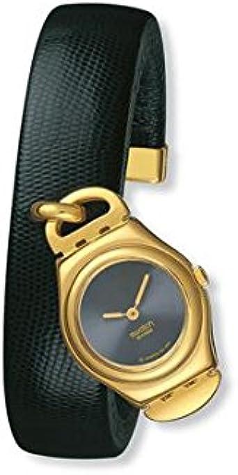 Reloj mujer solo tiempo, caja de acero dorado 28 mm, esfera negro correa de piel negro: Amazon.es: Relojes