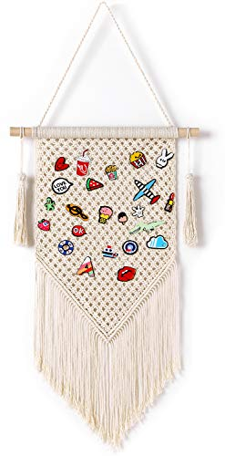 Mkono Pin Dispaly Banner Macrame Wall Hanging Pennant Enamel Pins Holder Buttons Earring Organizer Indoor Lapel Collection Storage Board,Boho Home Decor,Unique Christmas Gift