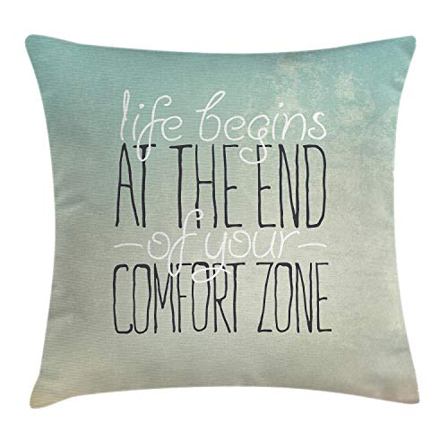 Ambesonne Lifestyle Throw Pillow Cushion Cover, Motivational Life Begins at The End of Your Comfort Zone Concept Print, Decorative Square Accent Pillow Case, 18 X 18 Inches, Multicolor ()