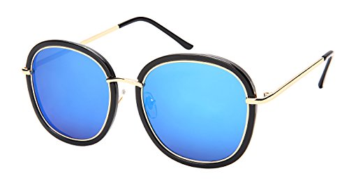 Edge I-Wear Women's Fashion Square Sunnies w/Flat Color Mirror Lens 3322-FLREV-4(BLK/BU - Sunglasses Haute Couture