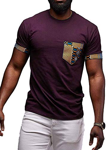- Mens African Print T-Shirt Dashiki Tops Tribal Short Sleeve V Neck Casual Tees Blouse (D-Purple, X-Large)