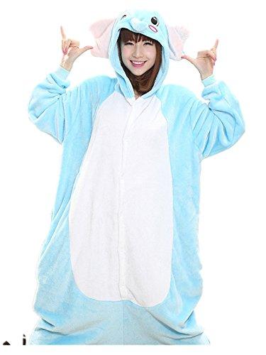 Akanbou Cute Animal Pajamas Onesies Flannel Plush Anime Pajama Cartoon Cosplay Costumes Unisex Adult Warm Sleepwear Halloween Hooded Homewear (M, (Elephant Onesies For Adults)