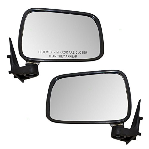 Driver and Passenger Manual Side View Mirrors with Chrome Covers Replacement for Mazda Pickup Truck UE5569180 UE5569120