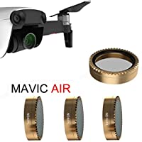 Rucan 3PC For DJI Mavic Air Drone Gold Gimbal Camera Lens Filter HD PL-ND4/ND8/ND16