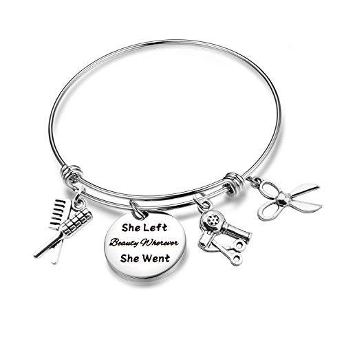 Gift Hair Stylist Gift She Left Beauty Wherever She Went Cosmetology Graduation Gift Her (Hairdresser Bracelet) ()