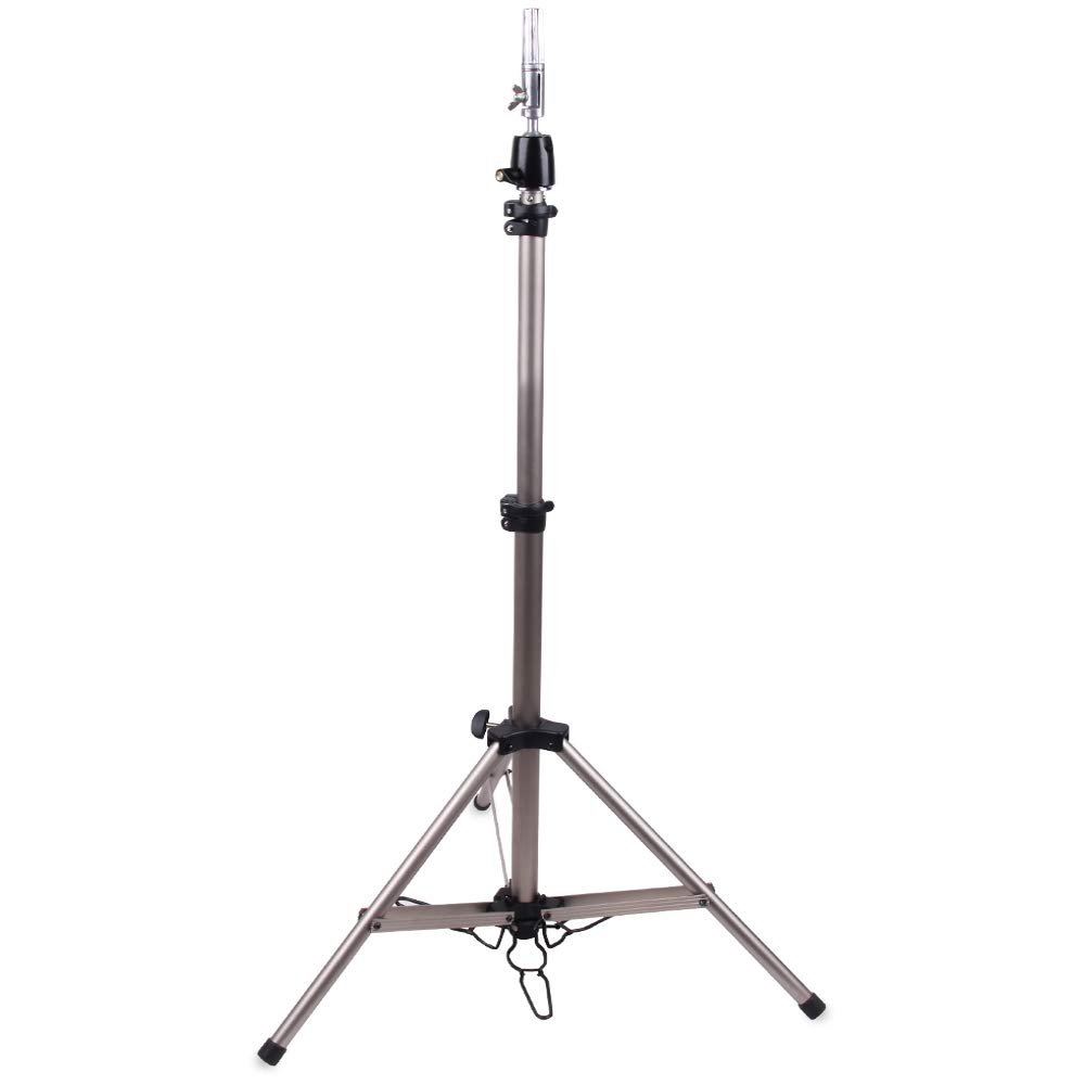 HAIR WAY Mannequin Head Tripod Stand Holder Heavy Duty for Cosmetology, 69inch Adjustable Metal Moving Tripod for Wig-Making, Beauty Hair Salon Styling and Canvas Block Head with Carry Bag Silver