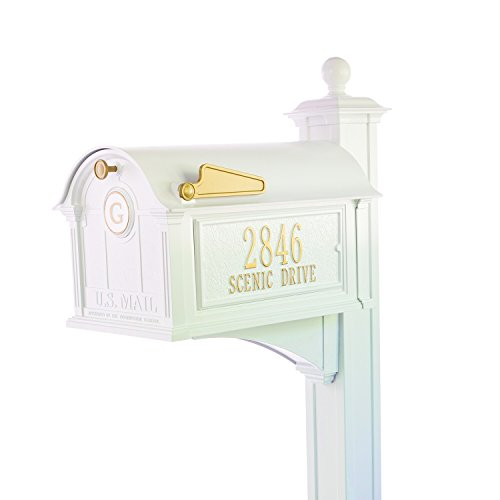 Whitehall Custom Balmoral Extra Large Mailbox with Monogram and Deluxe Side Mount Post Package - Sand Cast Aluminum - White Personalized in ()
